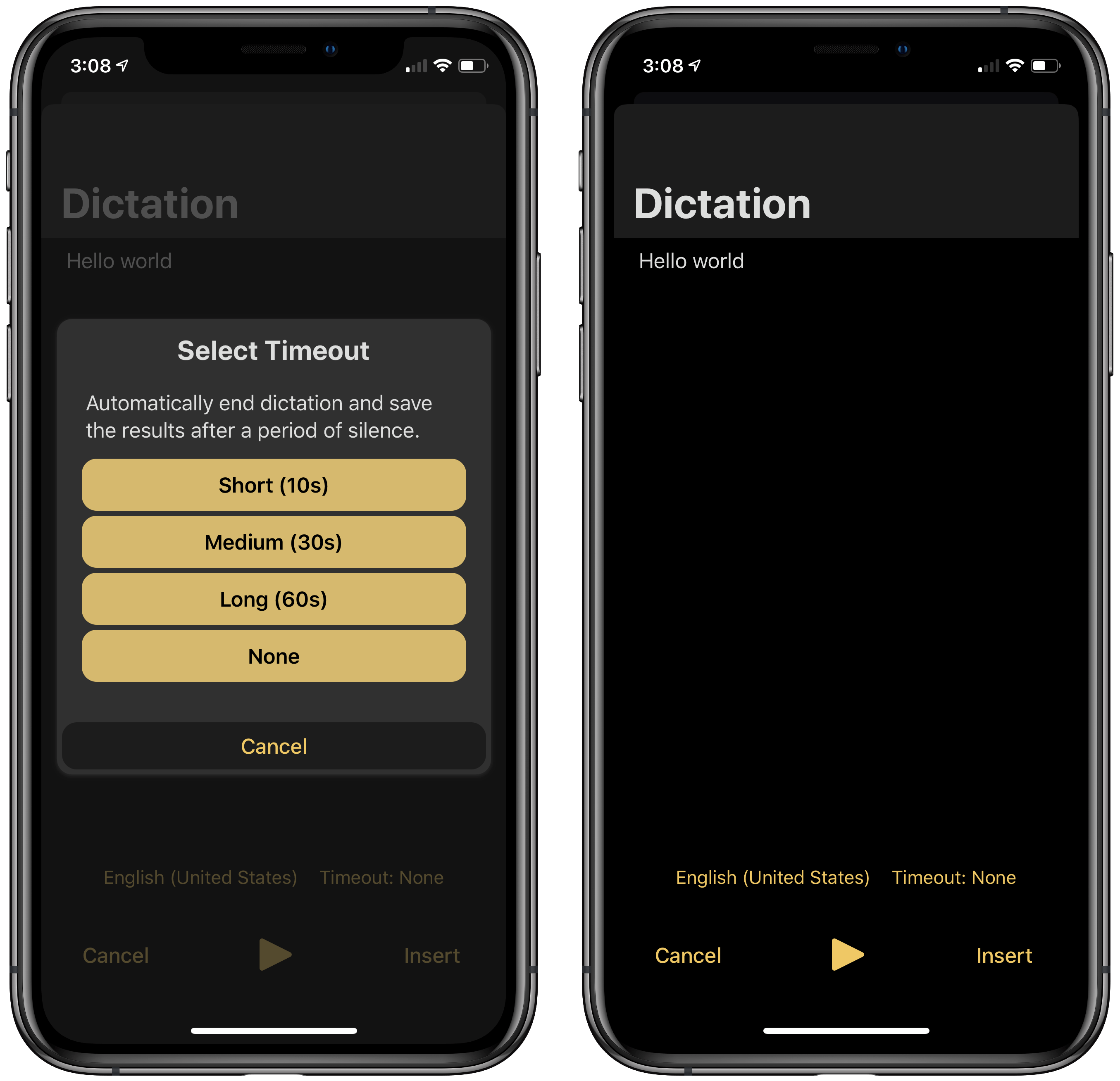 The dictation interface of Drafts.