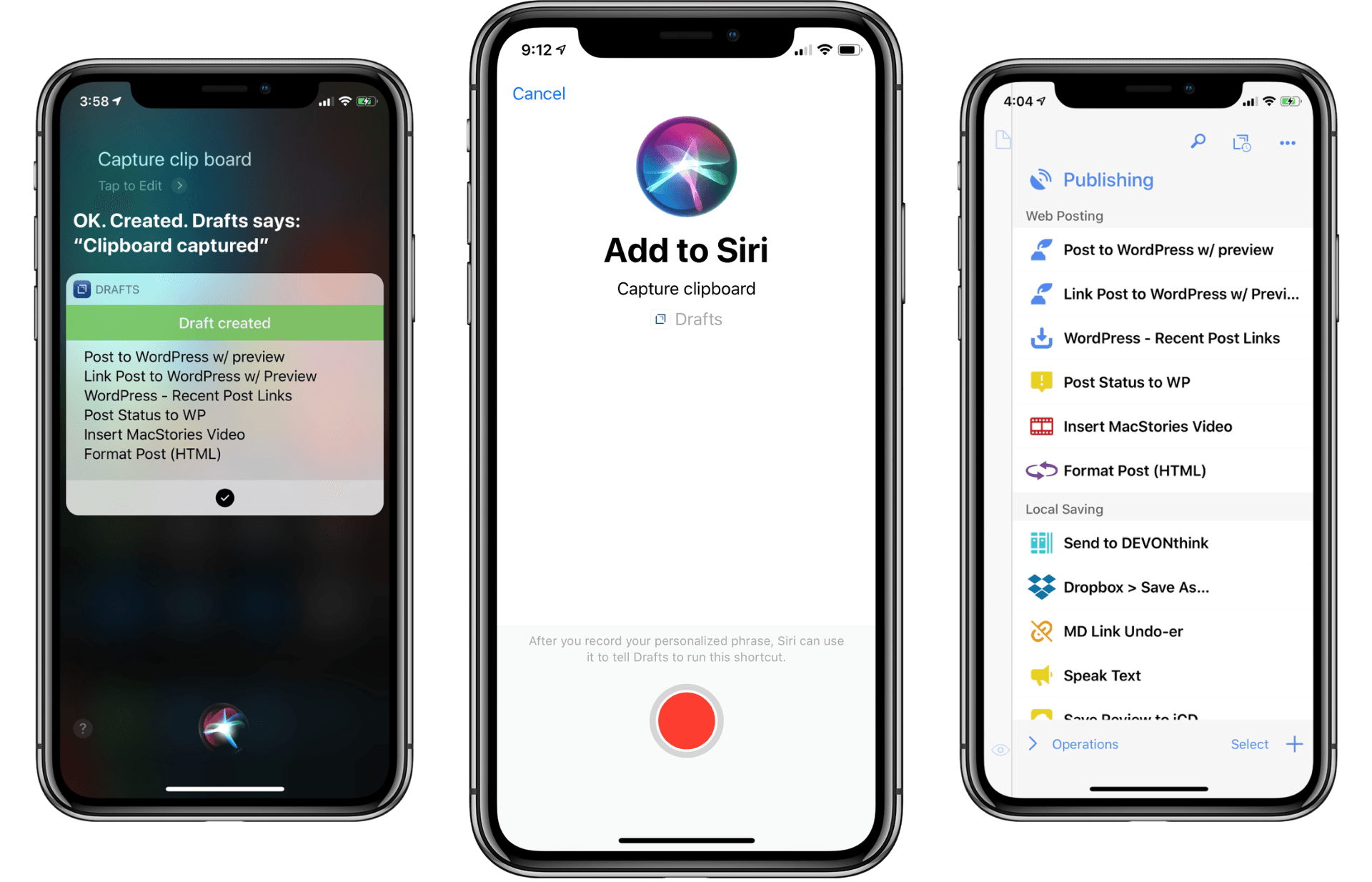 Drafts 5.4: Siri Shortcuts, WordPress, and More