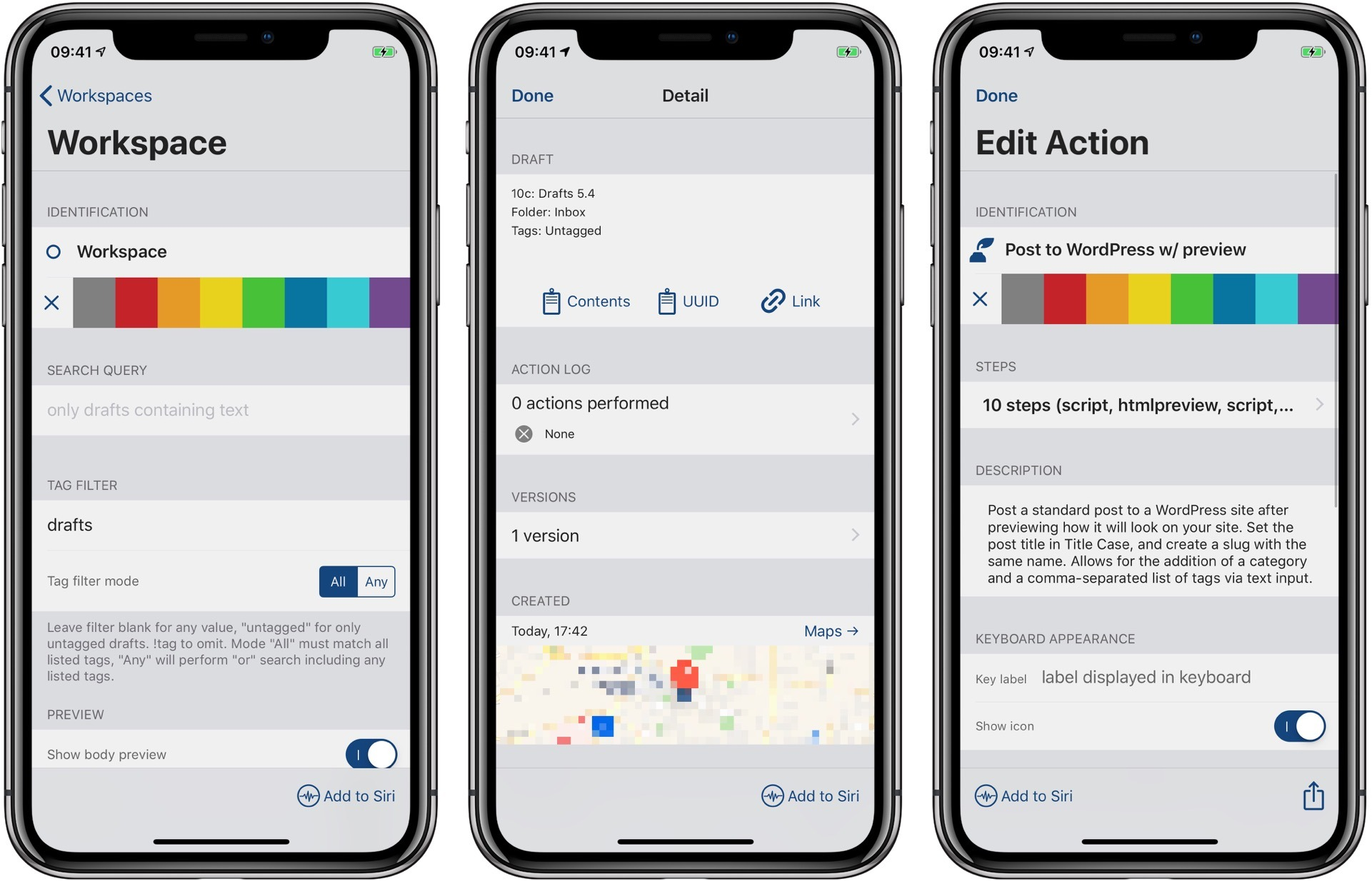 Add to Siri is found in workspaces, drafts, and actions.